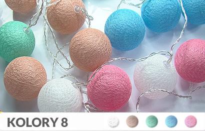20 kul K8 Bateria Cotton Balls DEKORACYJNE kule lampki LED