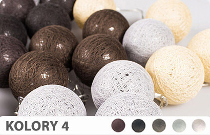 10 Kul K4 Bateria Cotton Balls Dekoracyjne Kule Lampki Led