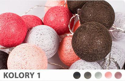 20 kul K1 Sieciowe Cotton Balls DEKORACYJNE kule lampki LED