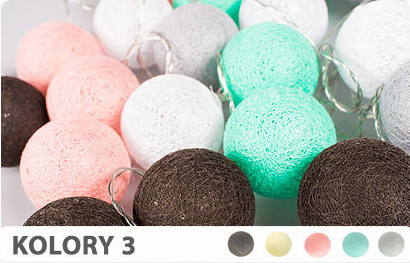 20 kul K3 Sieciowe Cotton Balls DEKORACYJNE kule lampki LED