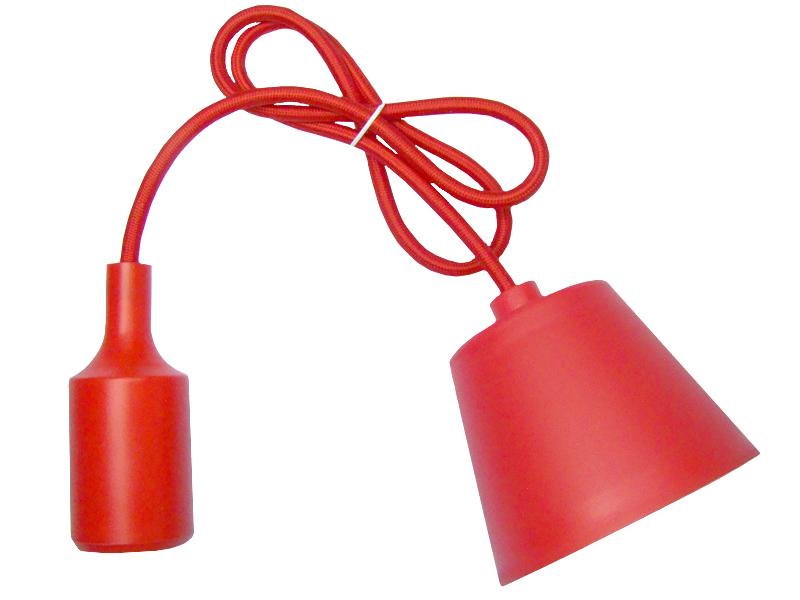 LAMPA WISZĄCA SUFITOWA SILIKONOWA OPRAWA ZWIS LOFT Czerwona