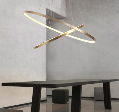 żyrandol lampa wisząca 2 ringi obręcze LED złota