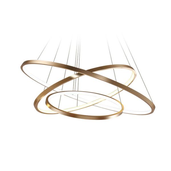 wisząca lampa żyrandol złota LED 3 obręcze ringi