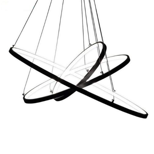 lampa wisząca żyrandol LED 3 obręcze ringi czarna