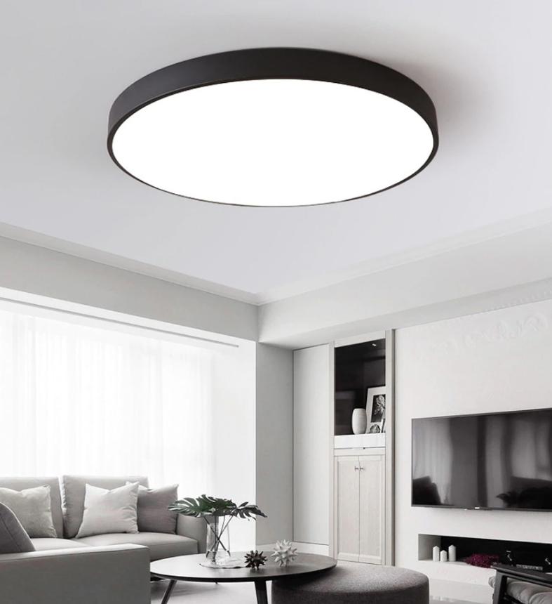 nowoczesna lampa plafon okrąg LED cienka sufitowa czarna