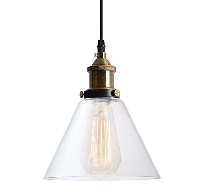 vintage retro LAMPA wisząca szklany klosz loft