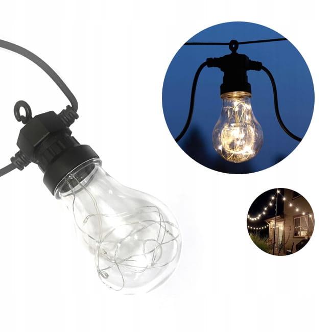 GIRLANDA lampki ogrodowe IP65 żarówki LED