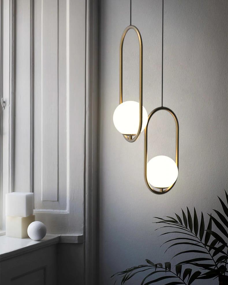 Lampa wisząca kula szklana złota żyrandol